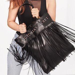 NWT Victoria's Secret Black Fringe Tote Bag Purse